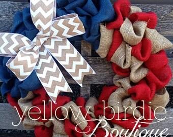 Patriotic burlap wreath- 4th of July Wreath-Fourth of July wreath- red natural and blue wreath-Summer Wreath