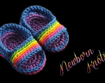 Crochet Pattern for Pin Stripe Baby Flip Flops. Pattern number 051. Instant Download