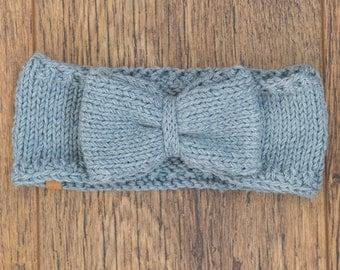 Women's Knit Headband / Knitted Headband / Handmade Merino Headband / Grey Bow Headband