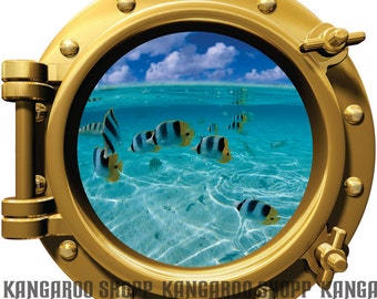 Clear water fish Porthole Wall Decal