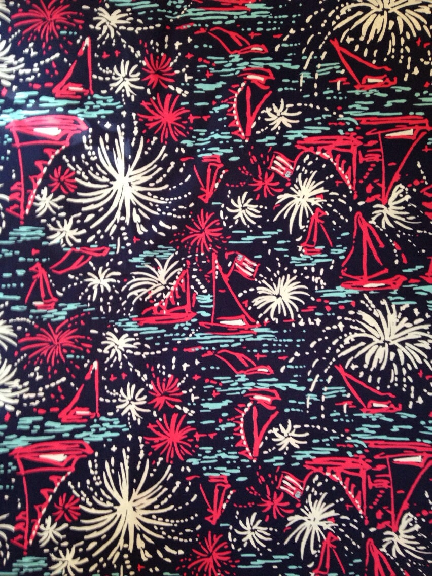 Lilly Pulitzer Fabric 18 X 18 Lilly Pulitzer Fabric Navy Sparks Fly Glow July 4th From