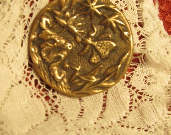 antique button, brass, butterfly and flowers