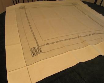 vintage linen, table cloth, drawn work