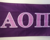 Alpha Omicron Pi Dark Purple/Light Purple Letter Sorority Flag 3' x 5'