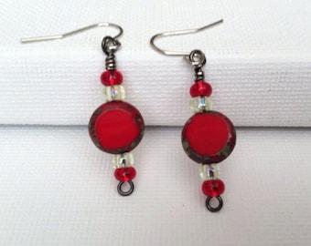 Red Glass Bead Earrings
