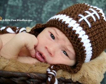 Infant Boys Crochet Football Hat - Newborn Football Hat - Baby Football Hat