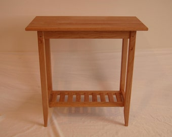 Long Cherry Shaker Style Side Table with Shelf