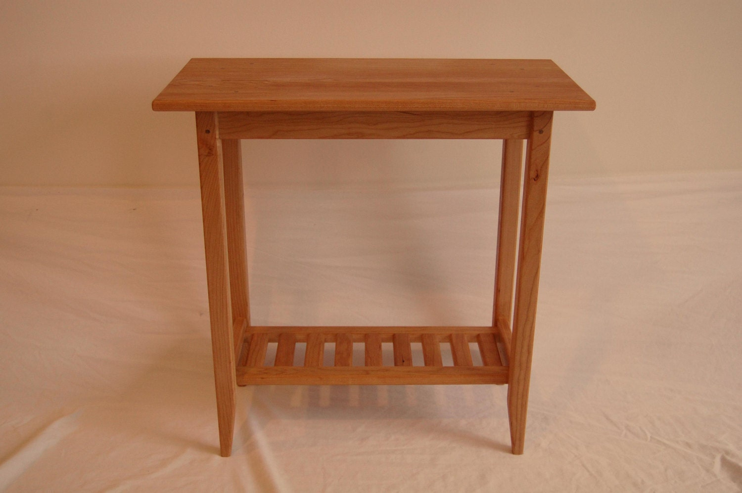 Long cherry shaker style side table with shelf for Long side table