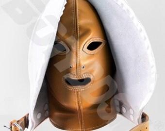 Bondage Fetish Mask Double skinned Medical leather Gimp hood, Leather bondage fetish mask hood, Mature