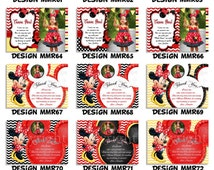 Minnie Mouse THANK YOU CARD, Polka Dot, Thank You Insert, Minnie Mouse, My Celebration Shoppe, Insert Card,Red Card, Chevron, Custom, Photo