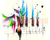 8x10 Song Bird Original Watercolor Sparrow Finch Piano Art Print