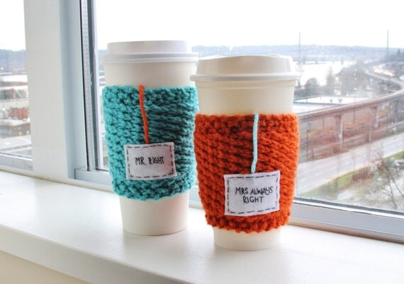Knitted Wedding Gifts: Wedding Gift Knitted Snug Travel Mug Cozy Pair In By