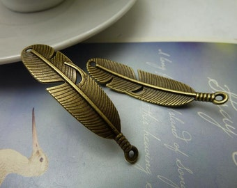 20PCS 10x45mm Antique Bronze/ Antique Silver Feather Charms Connectors Pendants Jewelry Findings AC7086