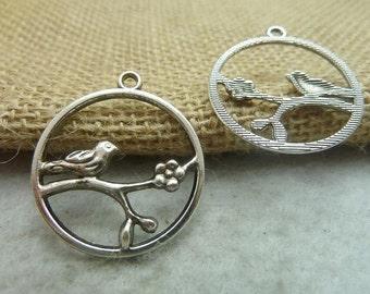 20pcs 28x32mm Antique Bronze / Antique Silver Bird Charms Pendants Jewelry Findings Wholesale Ac7496