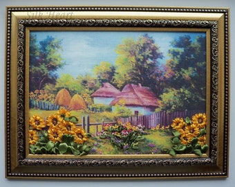 Ukrainian Haystacks and Houses- Framed Ribbon Embroidery
