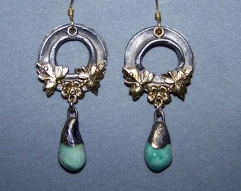 1 pair Earrings, aluminum, brass, ceramic * 453