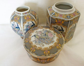 Set of 3 Vintage Asian Blue Peacock and Floral 2 Vases and Trinket box Peacock