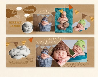 INSTANT DOWNLOAD - 5x5 Birth Announcement Accordion card template - CA520