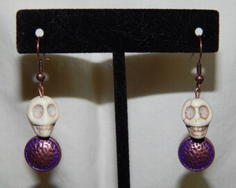 Skull and Purple Coppery Medallion Earrings