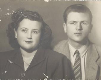 Vintage Photograph - Couple Photo - Sepia Photo - Woman and man Photo - M04