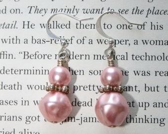 Light Pink Pearl and Silver Earrings