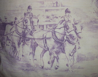 Throw Pillow Made In France With Equestrian Style Horses