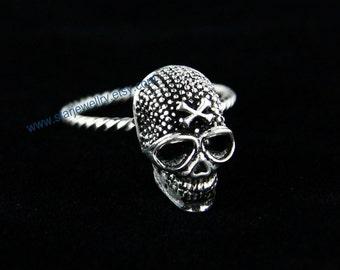 Steampunk Caribbean Pirates Skull ring---925silver ring
