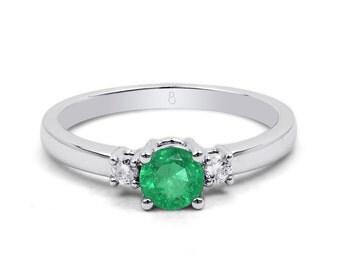 18ct White Gold Emerald & Diamond 3 Stone Engagement Ring 0.1ct 2mm