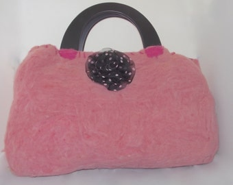 Needle Felted and Wet Felted Handbag, Hand Sewn.
