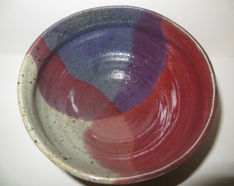 New stoneware pottery ceramic serving bowl rustic reds purples celadon wheel thrown handmade