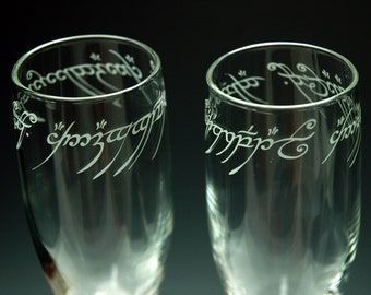 Lord of the Rings - ONE Ring Text - Etched Flute Set of 2