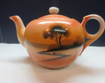 Vintage Hand Painted Tea Pot Made In Japan Tree In The Meadow