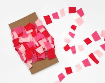 Pink Felt Garland, Pink Confetti Garland, Valentine Garland, Pink Geometric Garland, Pretty In Pink, Girls Room Decor 30 Feet Long