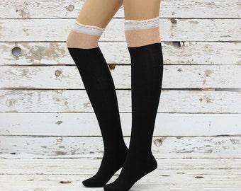 Knee  socks- women knee  Socks -boot socks -knee high socks legwarmers lace socks knee socks