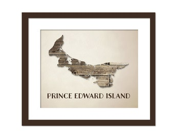 Prince Edward Island Provincial Map Art Print - Wood Background Rustic Art Poster - Geography Poster - Prince Edward Island Canada Art Print