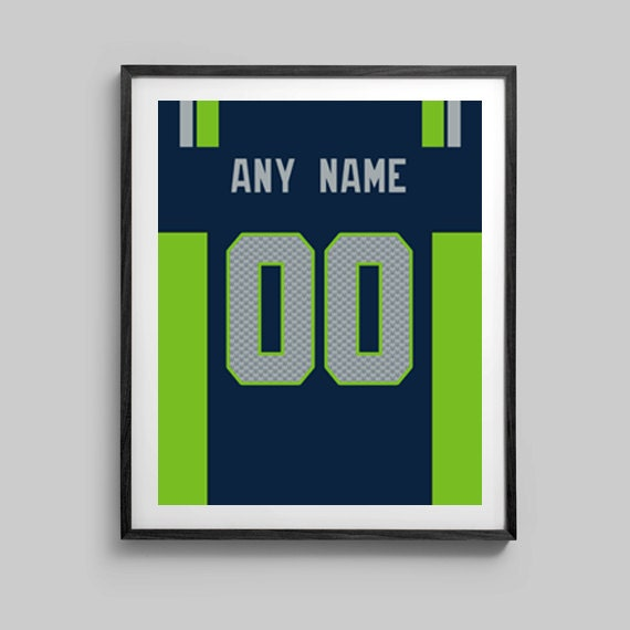 Seattle Seahawks Poster - Jersey Design Print-  Customize for a perfect present - Sizes - 8x10 - 12x18 - 16x20 - 18x24