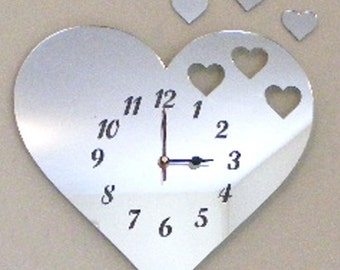 Hearts out of Heart Clock Mirror - 2 Sizes Available