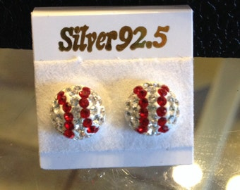Baseball Bling Earrings - Sterling Silver Swarovski Crystals