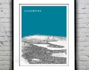 Queenstown New Zealand Poster Art Skyline Print Lake Wakatipu Version 1