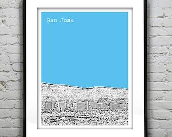 San Jose California Poster Art City Skyline Print CA Version 2