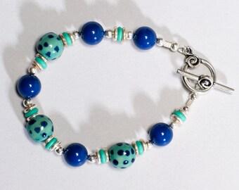 Kazuri Candy Blue and Green Bracelet