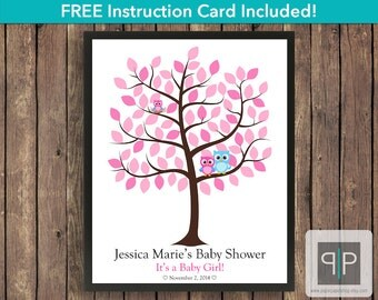Owl Baby Shower Guest Book Tree, Printable Owl Baby Shower Guestbook Tree, Girl Owl Baby Shower Guestbook, Owl Nursery Art, Owl Guestbook