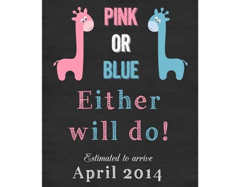 Chalkboard pregnancy announcement- pink or blue sign, chalkboard pregnancy, we're expecting, pregnancy photo prop, we're pregnant print
