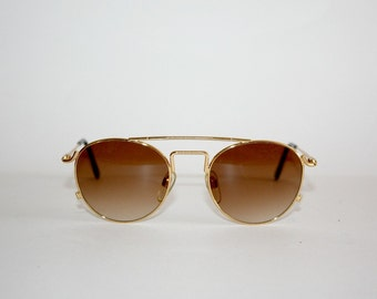 Vintage Steampunk Sunglasses  Shopping Liberty Round Metal Steampunk Style NOS, Made in Italy