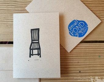 Block Print Notecard -- Gentleman's Chair, black & kraft