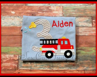 Fire Truck Themed BIrthday Number Tee