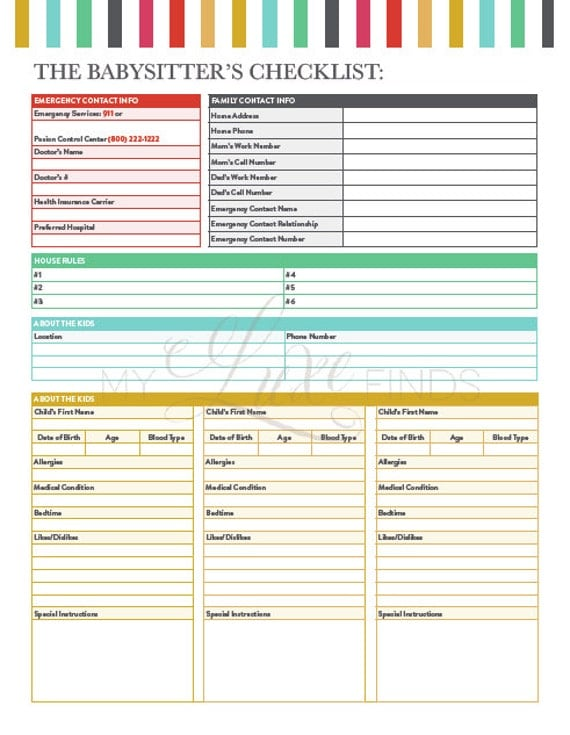 babysitter u0026 39 s information  u0026 emergency guide and checklist