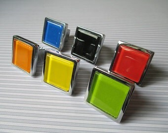 Glass Knobs / Dresser Drawer Knobs Pulls Handles Square White Black Red Yellow Green Orange / Furniture Knob Cabinet Knobs Hardware Colorful