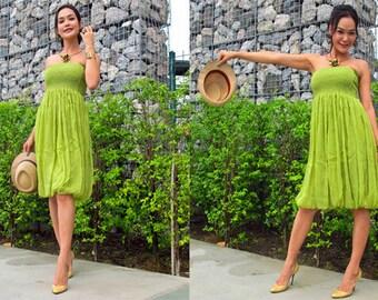 Green Lemon silk chiffon Strapless  Beach evening short Sun dress fits S M L XL