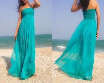 Turquoise maxi dress - Etsy